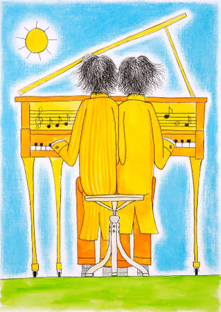 handwork: Piano players, Gemini, child s drawing, watercolor painting on paper