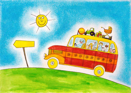 multiple image: School bus trip, child s drawing, watercolor painting on paper