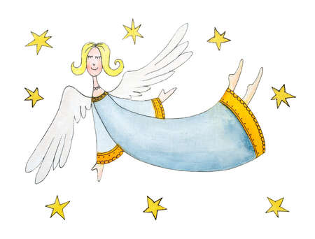 angel white: Angel with stars, child s drawing, watercolor painting on paper Stock Photo