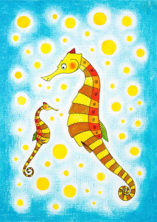 child s: Seahorses, child s drawing, watercolor painting on paper