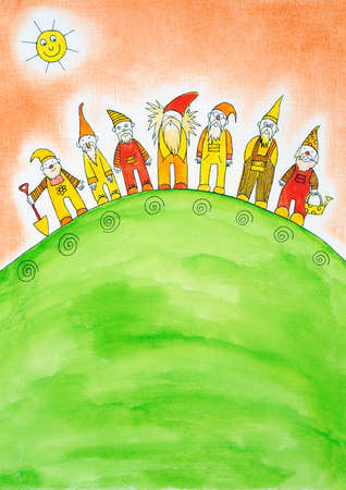 Seven dwarfs, child s drawing, watercolor painting on paper