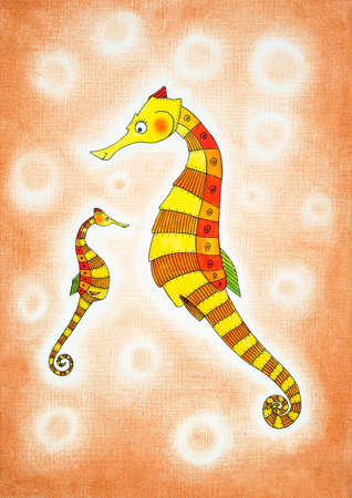 Seahorses, child s drawing, watercolor painting on paper photo