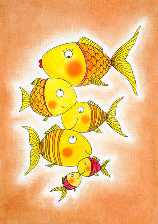 child s: Group of gold fish, child s drawing, watercolor painting on paper Stock Photo