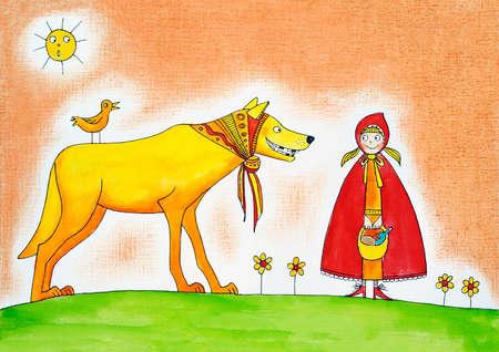 caperucita roja: Little red riding hood, hijo s de dibujo, acuarela sobre papel