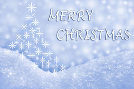 snow field: Merry Christmas greeting card