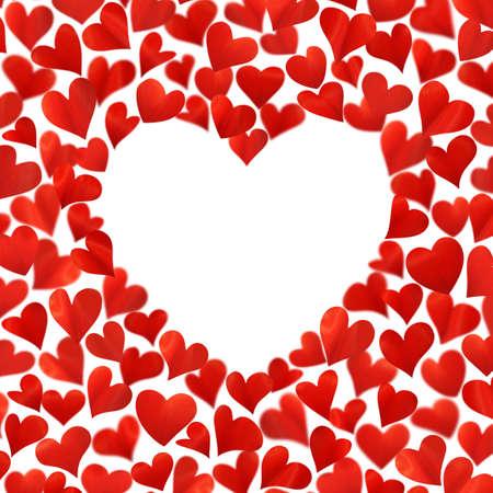 Arrière-plan avec des coeurs rouges en 3D, un espace vide pour le texte en forme de coeur, image tridimensionnelle, isolé sur fond blanc, Valentine card, carte d'anniversaire, coeurs sont fabriqués à partir des pétales de fleurs