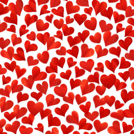 Background with red hearts in 3D, three-dimensional image, high resolution, Valentine card, birthday card, isolated on white background, hearts are made from flower petals Standard-Bild