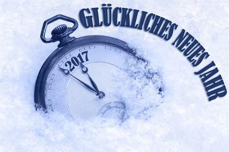 pf: 2017 Happy New Year greeting in German language, Gluckliches neues Jahr text