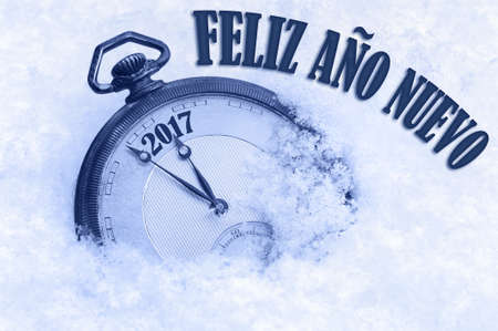 snow field: 2017 greeting, Happy New Year in Spanish language, Feliz ano nuevo text