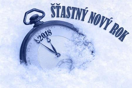 Feliz año nuevo 2018 saludo en idioma checo, Stastny novy rok text Foto de archivo - 90457339