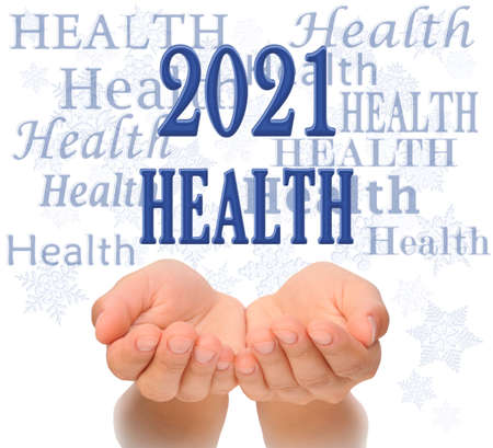 Health Happy new year greeting card 2021, health concept, text Health, greeting card 2021, woman's open palms of two hands with word HEALTH  and 2021 number above, Happy New year 2021, care health