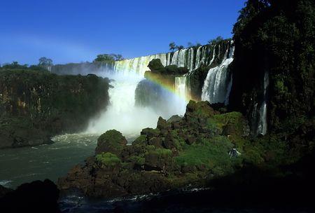 무지개 아르헨티나 측면과 Iguacu 폭포 스톡 콘텐츠