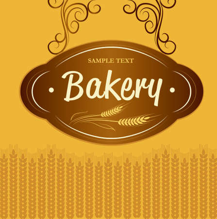 bagel: Bakkerij brood, stokbrood, gebak, croissants, cupcake, bagel etiketten, verpakking voor brood tarwe oor van tarwe Stock Illustratie
