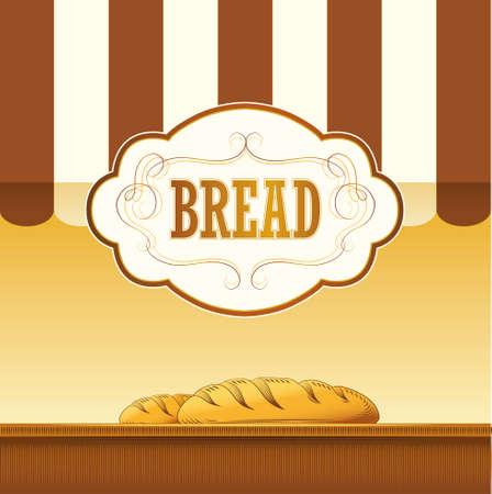prodotti da forno: Pagnotta di pane, baguette, prodotti da forno, croissant, Cupcake, etichette bagel, pack per pane di grano spiga di grano Vettoriali