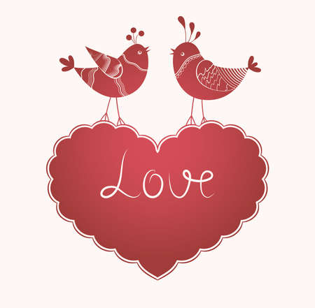 Romantic card with birds in love card with birds - invitation for party or wedding Valentines Day Vector
