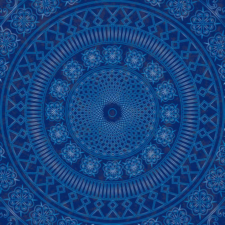 Vector decor blue lace  Old circle lace Vector
