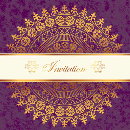 Vector decor lace on vintage purple background  Old circle lace Vector