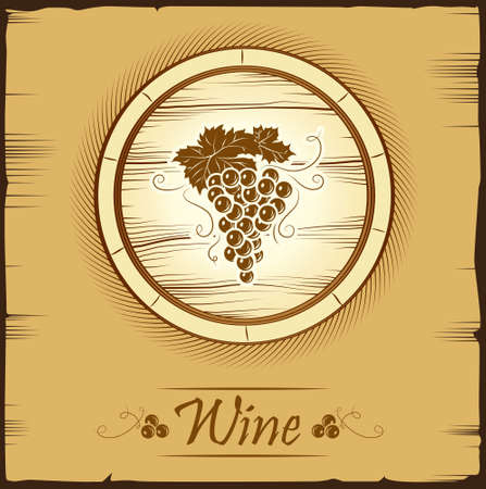bottle label: Bunch of grapes for labels of wine cask ceg