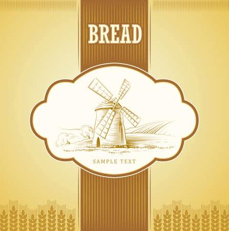 Vecteur moulin sur les étiquettes de champ, paquet de pain, spaghetti, pâtes