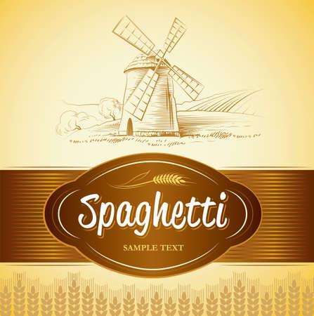 pain frais: Vecteur moulin sur les �tiquettes de champ, paquet de pain, spaghetti, p�tes