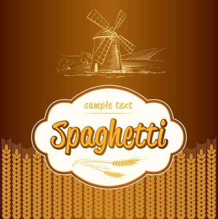 スパゲティ パスタ ベーカリー ラベル パック スパゲッティ、パスタ
