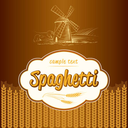 flour mill: spaghetti  pasta  Bakery  labels, pack for spaghetti, pasta
