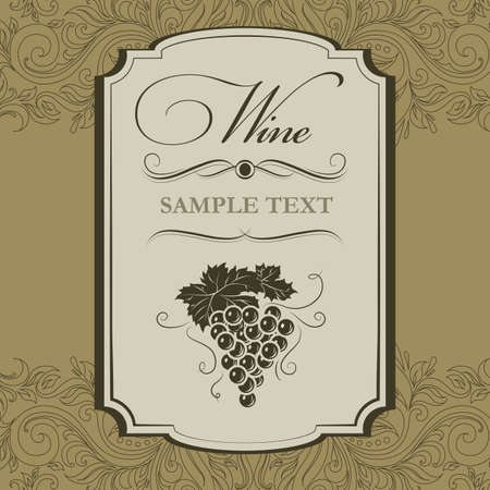 Vintage label Bos van druiven voor etiketten van wijn Vector Illustratie