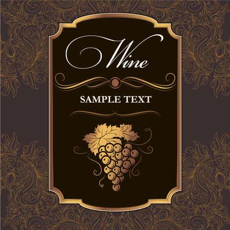 Vintage label Bos van druiven voor etiketten van wijn