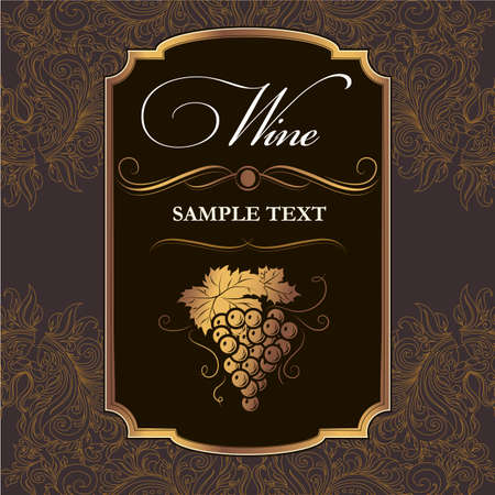 wine card: Vintage label  Bunch of grapes for labels of wine