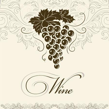ヴィンテージ ラベルのワインのラベルのブドウの房  イラスト・ベクター素材