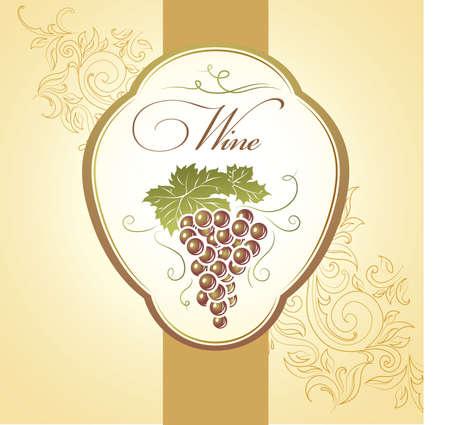 french label: Racimo de uvas para las etiquetas de vino