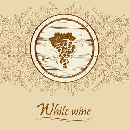 wine card: cask wine  barrel  Vintage label   Illustration