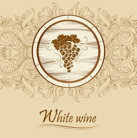 wine barrel: cask wine  barrel  Vintage label   Illustration