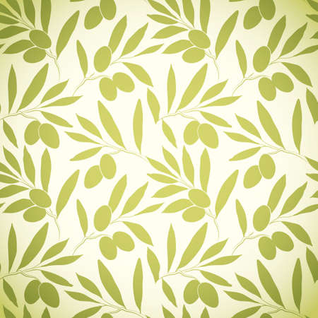 olive green: Seamless vector pattern olive branch on paper For labels, packaging