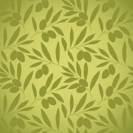 Seamless vector pattern olive branch on paper For labels, packaging