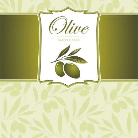 rama de olivo: Fondo de Oliva Vector decorativo rama de olivo para etiquetas, envase