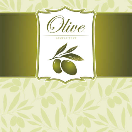 olive branch: Olive background Vector decorative olive branch  For labels, pack  Illustration