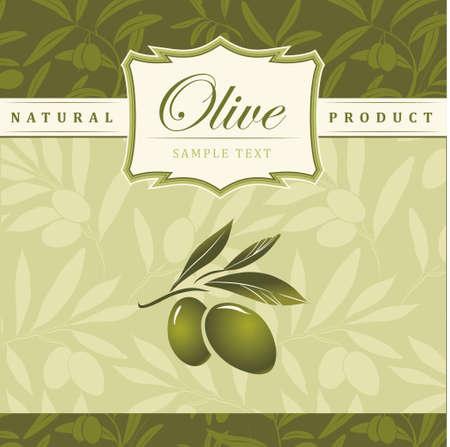 hoja de olivo: Fondo de Oliva Vector decorativo rama de olivo para etiquetas, envase