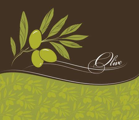 olive green: Olive background Vector decorative olive branch  For labels, pack  Illustration