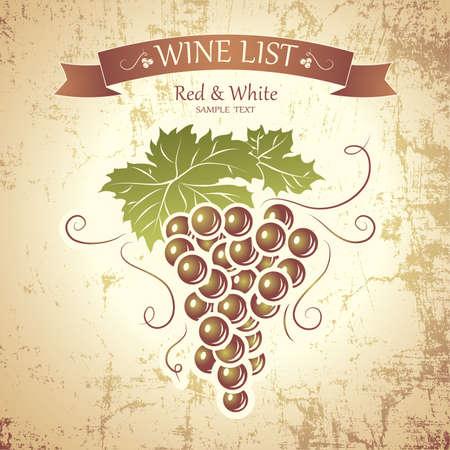 wine barrel: Wine label with grapes   Wine menu Illustration