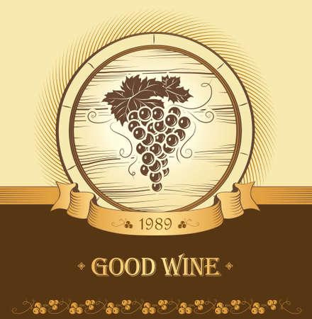 cask: Wine label with grapes   Wine menu Cask, ceg Illustration