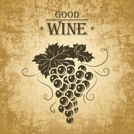 ワインのブドウとワインのラベル メニュー  イラスト・ベクター素材