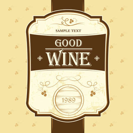 Wine label with grapes   Wine menu Cask, ceg Illustration