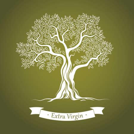 olijf: Olijfboom Olijfolie Vector olijfboom Voor etiketten, verpakking Stock Illustratie