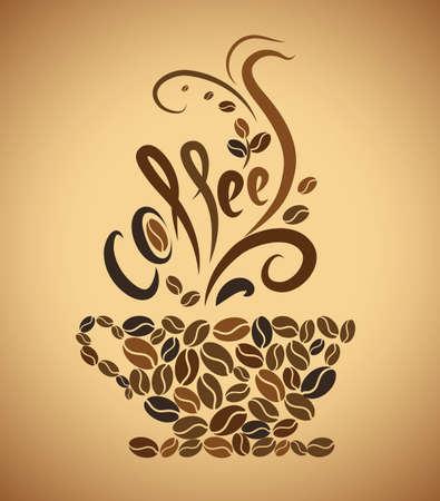 fond caf�: tasse de caf� de grains de caf�