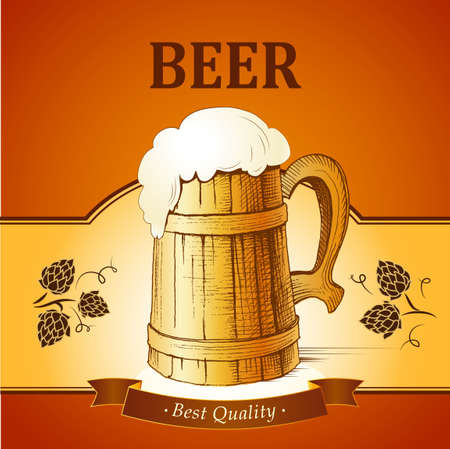 Barrel mug with wheat and hops. Vector Vector