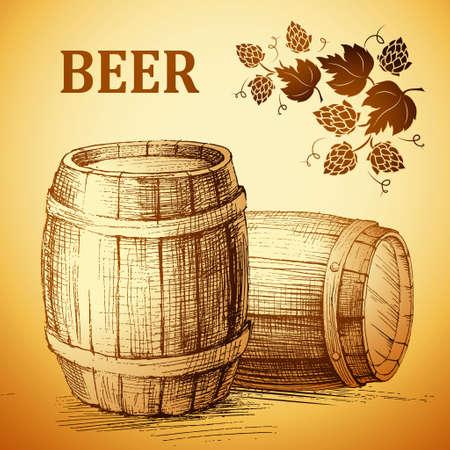 barrels set: beer keg  for label, package.vintage barrel . hop. Illustration