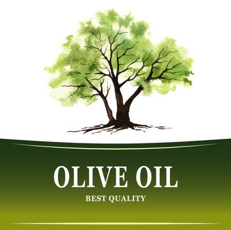 手描き水彩画とオリーブの木イラスト  イラスト・ベクター素材