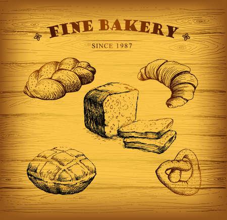 baked goods: Bakery.  label for loaf, baked goods, croissant, cupcake, bagel. background wooden. Illustration