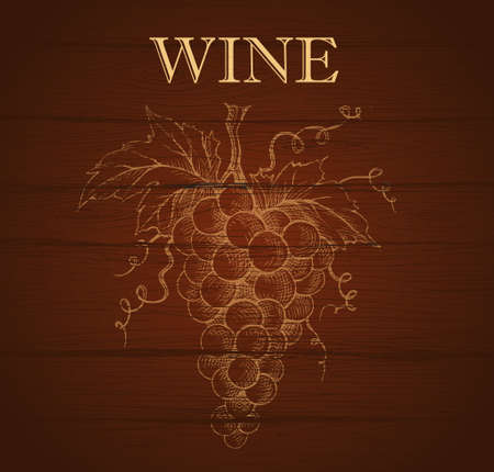 wine list: Bunch of grapes on wood background. Wine lable Illustration